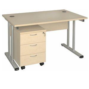 Schreibtisch in ahorn + Optionen 1